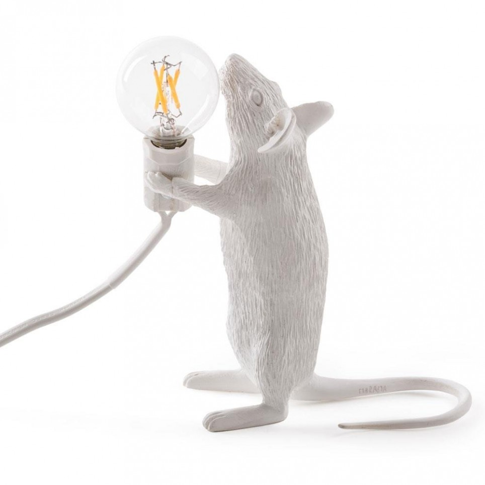 Lampe en résine souris sur pieds