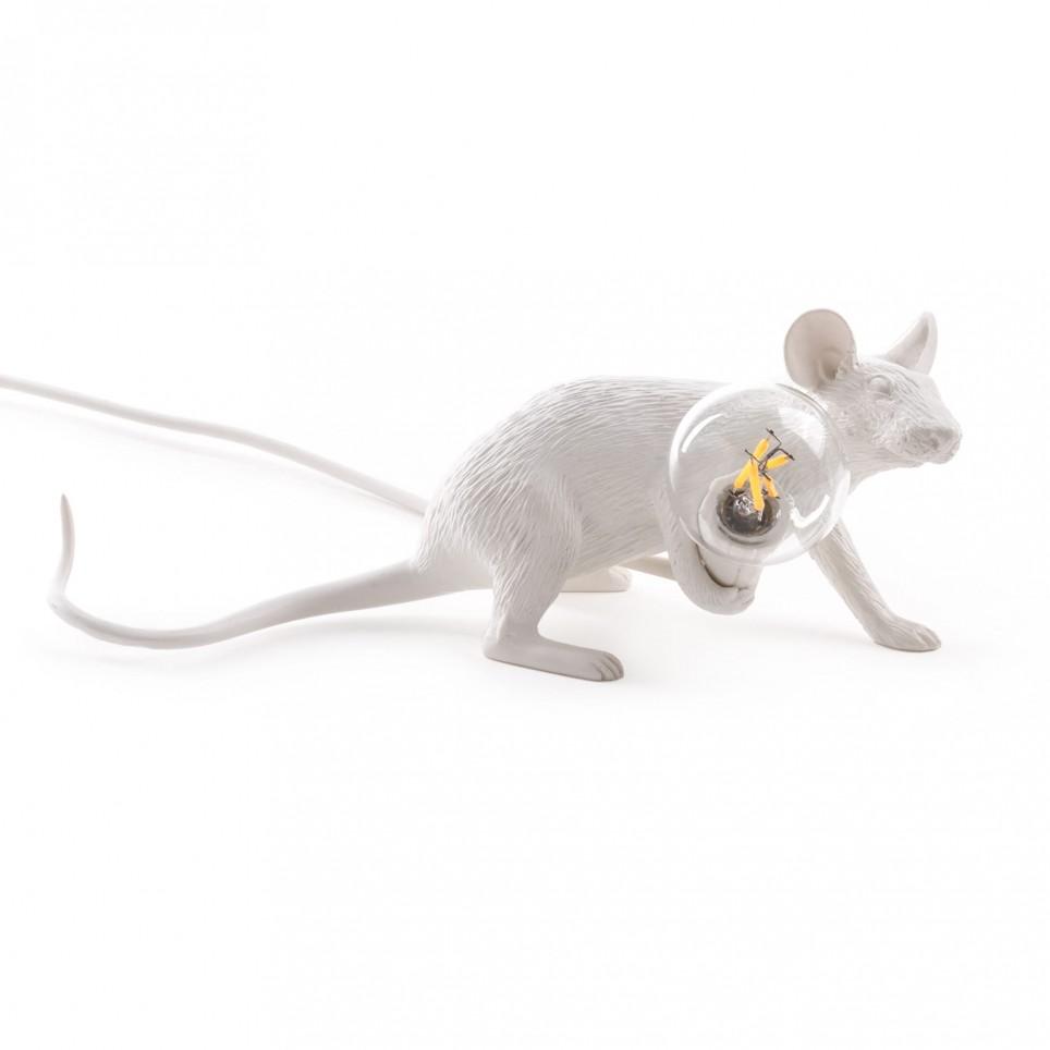 Lampe en résine souris allongée