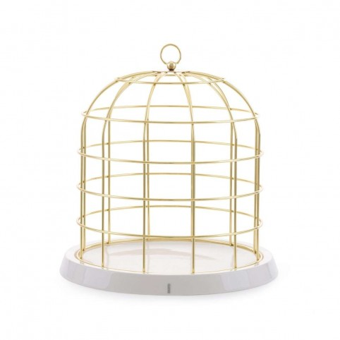 Cage métal doré en porcelaine