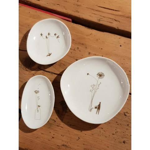 Coupelles par 3 porcelaine