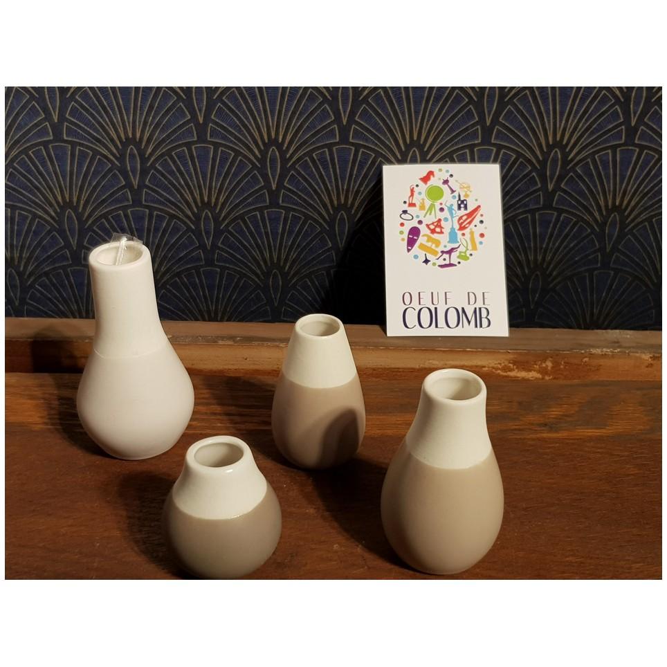 Mini pastel vases porcelaine gris par 4