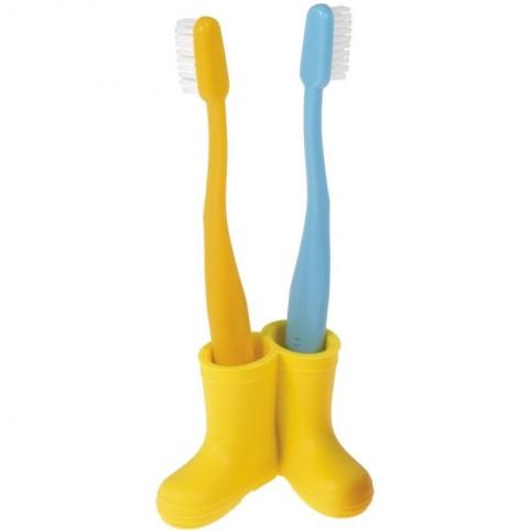 Porte brosses à dents bottes jaunes
